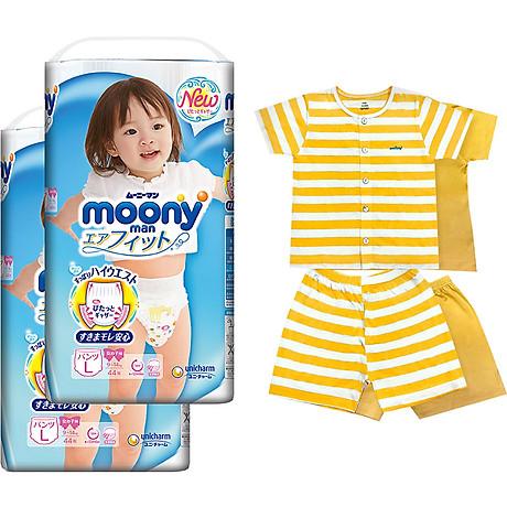 Bộ 2 tã quần cao cấp bé gái Moony L44 [Tặng bộ quần áo Nous 18-24m] 1