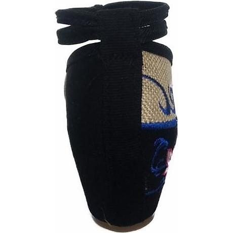 Giày Đế Xuồng Thêu Hoa Sen Nữ Quai Ôm Cổ Chân C66 - Đen 3