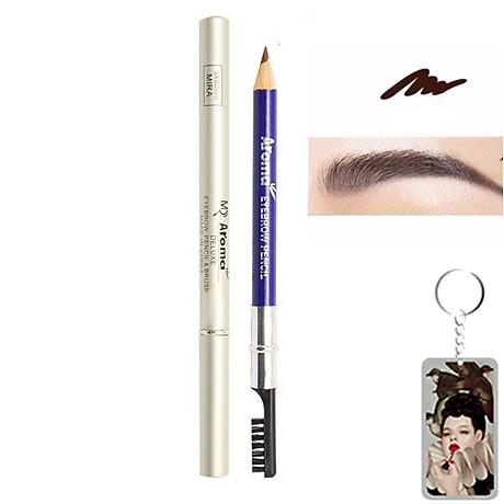 Chì vẽ mày sắc nét Aroma Eyebrow Pencil Hàn Quốc No.22 Black Brown tặng kèm móc khoá 1