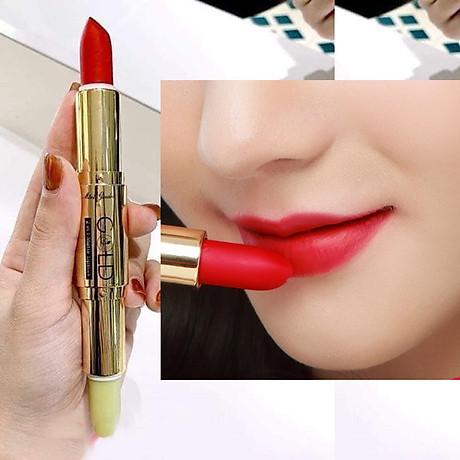 Son GOLD Matte Lipstick 2in1 Mini Garden Màu Đỏ Dâu 1