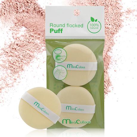 Bông phấn khô tròn Mira Culous bịch 2 miếng 5.5cm tặng kèm móc khóa 1 túi - 2 bông 3