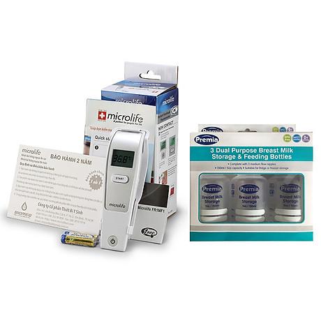 Nhiệt kế hồng ngoại đo trán Microlife FR1MF1 tặng kèm 03 bình trữ sữa Premia 1