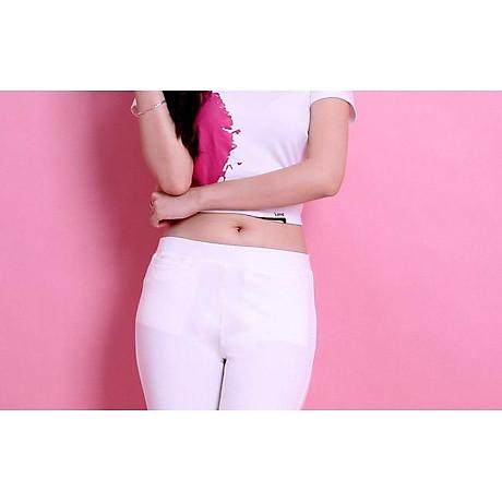 Quần legging nữ màu trắng chất cotton thun 4