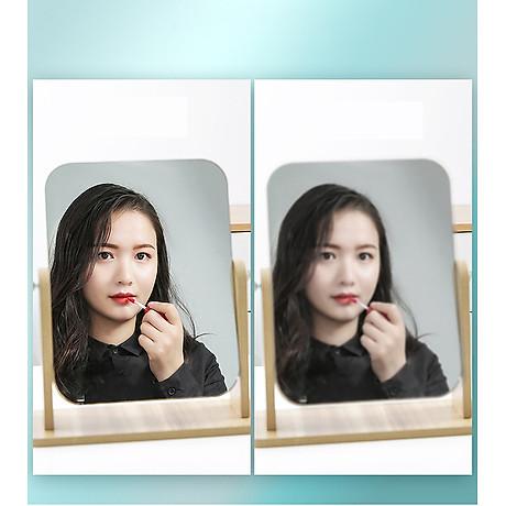 Gương soi trang điểm để bàn cao cấp xoay được 360 độ tiện dụng chất liệu gỗ ép chắc chắn kích thước 17 x 22 cm - Gương gỗ để bàn Trang Điểm 3