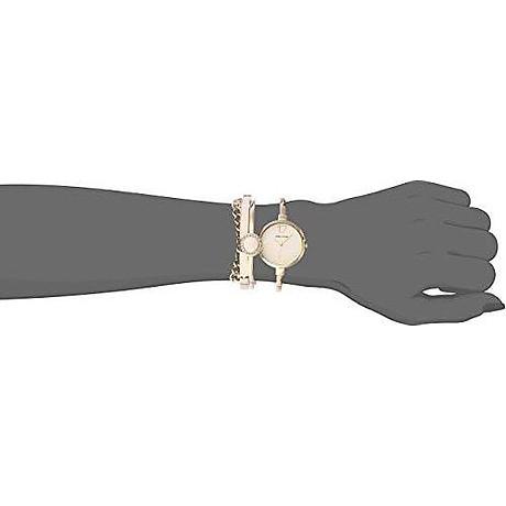 Anne Klein Women s AK 3290LPST Gold-Tone Bangle Watch and Swarovski Crystal Accented Bracelet Set 7