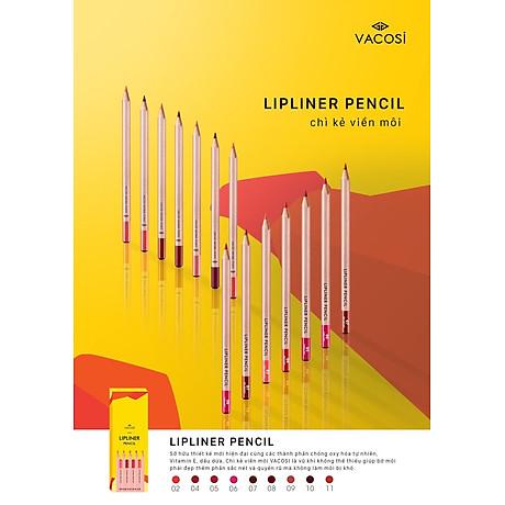 Chì Kẻ Viền Môi Vacosi Natural Studio Lipliner Pencil 3