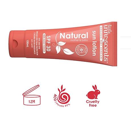 Kem Chống Nắng Hữu Cơ Organic Natural Sun Lotion SPF 30 Little Innoscents 100ml Hàng Nhập Khẩu Chính Hãng Úc 4