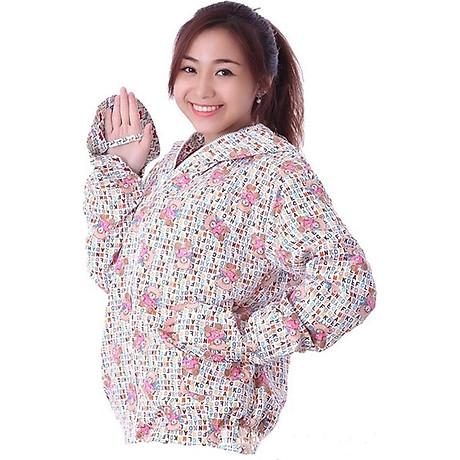 Áo chống nắng vải thô 2 lớp dáng ngắn nữ 2