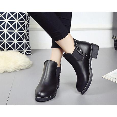 Giày bốt nữ boots chelsea viền đinh đế thấp S046 1