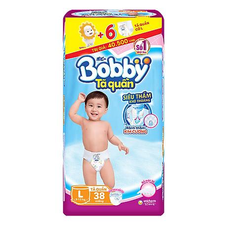 Tã Quần Bobby Gói Lớn L38 (38 Miếng) + 6 Miếng Cùng Size 1