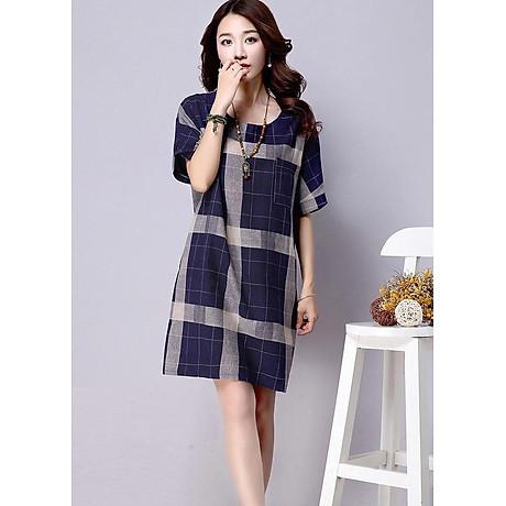 Đầm suông kẻ ô vuông tay cánh rơi form rộng LAHstore, chất vải thô mềm mát, thích hợp mùa hè, thời trang phong cách Hàn Quốc 1