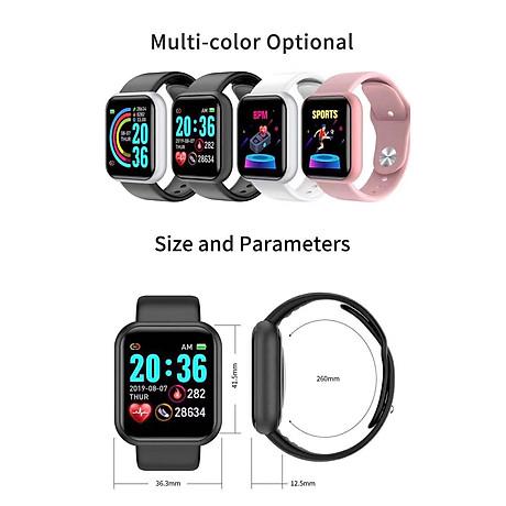 Đồng hồ thông minh Y68 LED và cảm ứng siêu mượt, hiển thị Cuộc gọi, Theo dõi sức khoẻ - Giao màu ngẫu nhiên 2