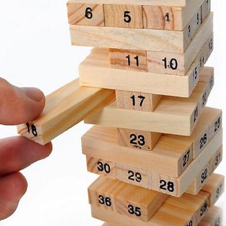 Bộ đồ chơi rút gỗ, đồ chơi gỗ thông minh, trò chơi rút gỗ Wiss Toy 54 thanh gỗ tự nhiên, game rút gỗ kèm 4 xúc xắc Tặng Kèm Móc Khóa 4Tech. 4