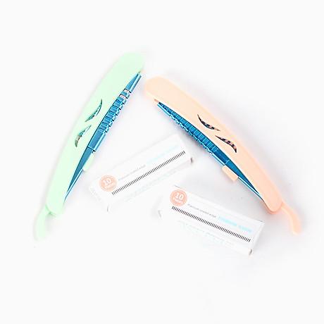 Bộ dao cạo lông mày mini gấp khúc 10 lưỡi dao phong cách Hàn Quốc - MN023 2