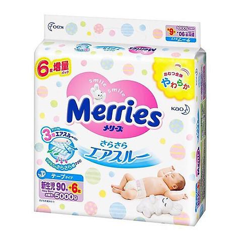 Bỉm Tã Merries Nội Địa Nhật hàng thêm miếng NB96( Cho Trẻ Dưới 5kg) 1