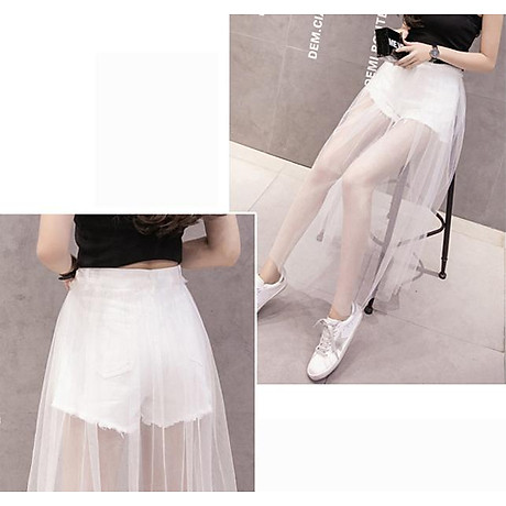 Chân váy maxi jean quần phối ren trắng - CV022 6