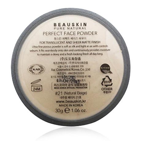 Phấn phủ bột Beauskin Perfect Face Powder Hàn Quốc 30g 21 Natural Beige tặng kèm móc khoá 4