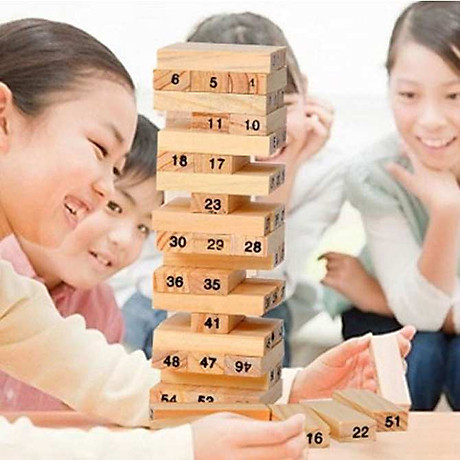 Bộ đồ chơi rút gỗ, đồ chơi gỗ thông minh, trò chơi rút gỗ Wiss Toy 54 thanh gỗ tự nhiên, game rút gỗ kèm 4 xúc xắc Tặng Kèm Móc Khóa 4Tech. 2
