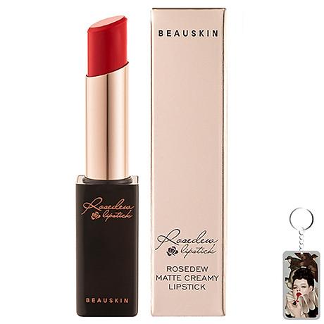 Son lì nhẹ môi Beauskin Rosedew Matte Creamy Hàn Quốc No.03 Đỏ thuần tặng kèm móc khóa 1
