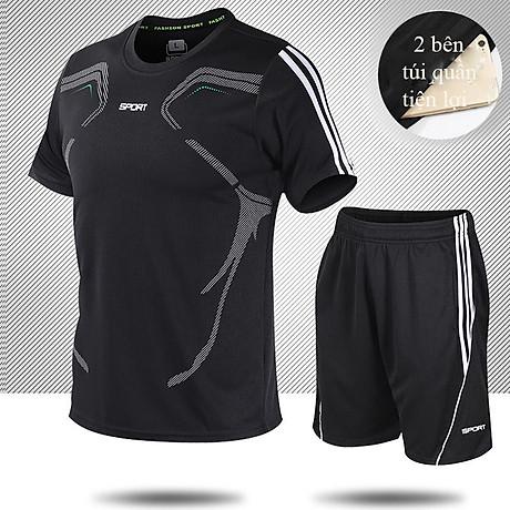 Bộ quần áo thể thao nam ngắn tay nhanh khô thể dục thể thao thoáng khí - NB001 1
