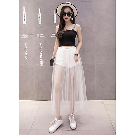 Chân váy maxi jean quần phối ren trắng - CV022 3
