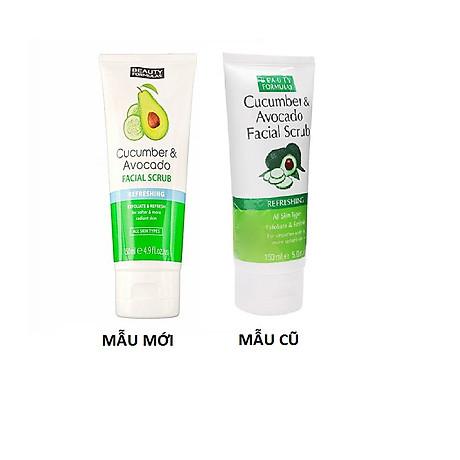 Sữa rửa mặt Beauty Formulas Cucumber & Avocado Facial Scrub 150ml - tẩy tế bào chết tinh chất dưa leo 4