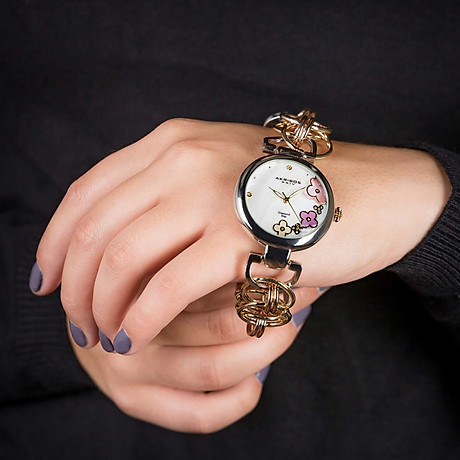Akribos XXIV Women s Lady Diamond Watch - 14 Genuine Diamonds On a Mother-of-Pearl Dial with Chain Link Bracelet Watch - AK645 6