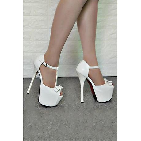 Giày Sandal Cao Gót Đế Kép Đính Nơ 4