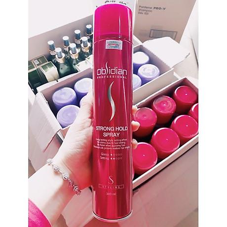 Gôm xịt tóc cứng Obsidian Strong Hold Spray Hàn Quốc 300ml tặng kèm móc khóa 3
