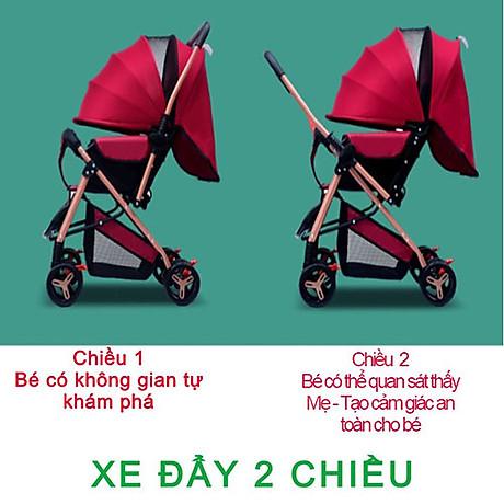 Xe đẩy cho bé HUAYING ,Xe đẩy em bé 2 chiều 3 tư thế màu đỏ,màu xanh,màu kaki,màu hồng 2