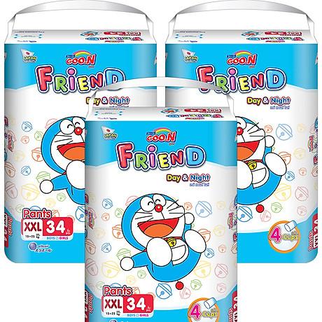 Combo 3 Tã quần Goon Friend Doremon mới gói cực đại XXL34 (15kg 25kg) 1