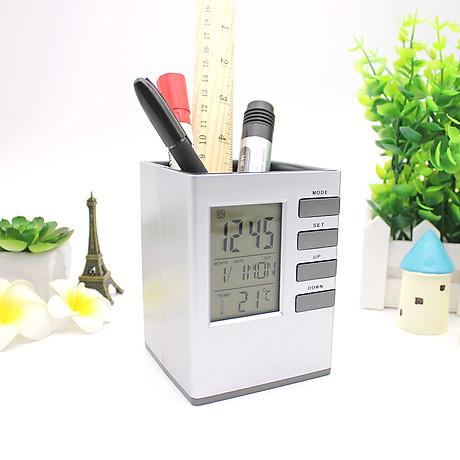 Hộp đựng bút kiêm đồng hồ để bàn V1 hình vuông (Tặng kèm quạt mini cắm USB vỏ nhựa giao màu ngẫu nhiên) 4