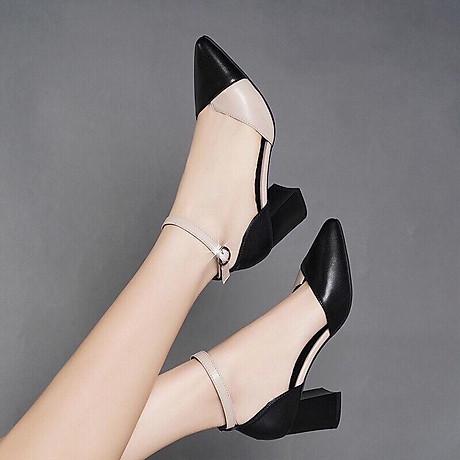 Giày cao gót đúp mũi phối 2 màu 2