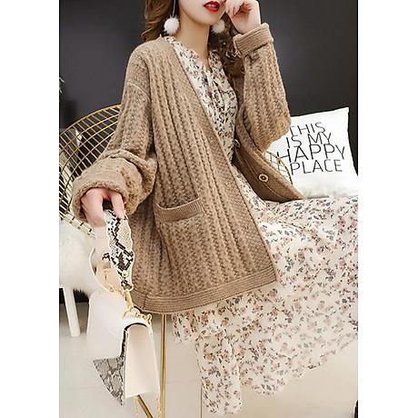 Áo khoác len dáng dài kiểu áo khoác đơn giản phối túi GOTI 1867 1