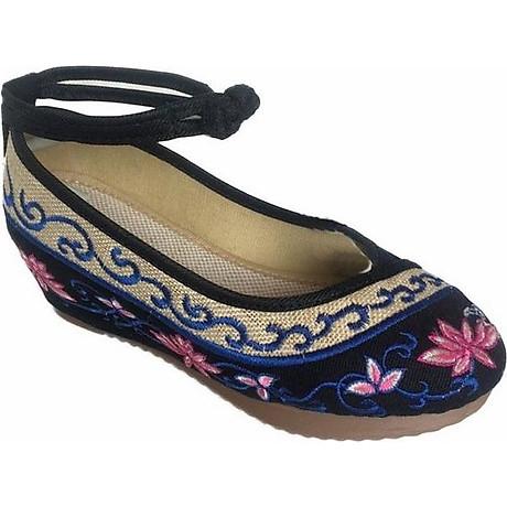 Giày Đế Xuồng Thêu Hoa Sen Nữ Quai Ôm Cổ Chân C66 - Đen 4