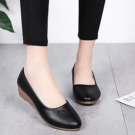Giày nữ bít mũi đế xuồng cao 3cm kiểu trơn da lì siêu nhẹ siêu mềm C26n có ảnh thật 2