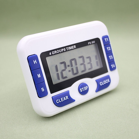 Đồng hồ đếm ngược 4 kênh, dùng pin cúc áo tặng kèm đèn 4 led dán tường , dán ô tô 1