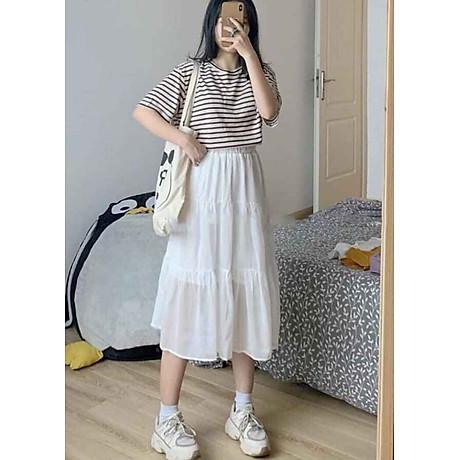 Chân váy xòe dáng dài chất đẹp, dễ thương 2 tầng cạp chun 5