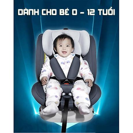 Ghế ô tô 2 chiều CHUẨN ISO 9001, điều chỉnh 4 tư thế từ nằm tới ngồi và có thể điều chỉnh độ cao 7 cấp cho bé từ 0-12 tuổi (xám) 4