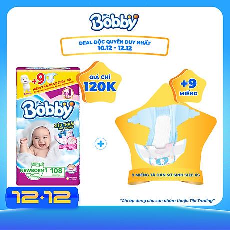 Miếng Lót Sơ Sinh Bobby Fresh Newborn 1 - 108 (108 Miếng) + 9 Miếng Tã Dán Sơ Sinh Size XS 1