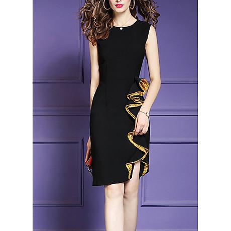Đầm ôm dự tiệc đủ size kiểu đầm phối cách điệu tà bèo kim sa vàng GOTI3048 1