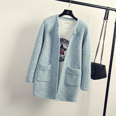 Áo khoác cardigan cao cấp cổ tròn Haint Boutique 34.xám 1