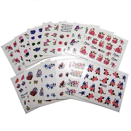 Bộ 10 tấm decal dán móng họa tiết bông hoa, cánh bướm - sticker trang trí móng nghệ thuật Nail art sang trọng H10 3