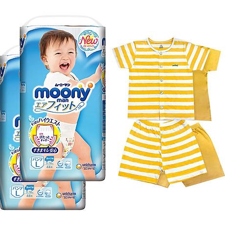 Bộ 2 tã quần cao cấp bé trai Moony L44 - [Tặng bộ quần áo Nous 18-24m] 1