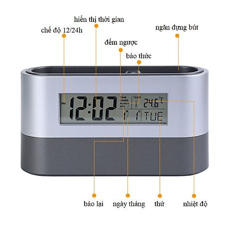 Hộp đựng bút kiêm đồng hồ để bàn V3 (Tặng kèm quạt mini cắm cổng USB vỏ nhựa giao màu ngẫu nhiên) 7