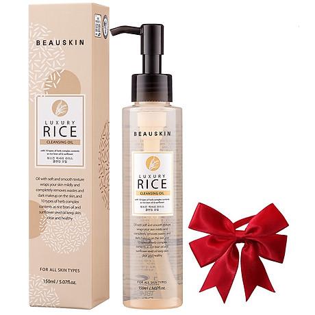 Nước tẩy trang mắt môi từ tinh chất gạo BEAUSKIN LUXURY RICE CLEANSING OIL Hàn quốc 150ml Chai Kèm 1 nơ xinh 1