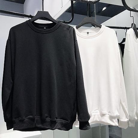 Áo Sweater Nam Nữ Nỉ Bông Trắng (Đen) Trơn Thời Trang Cao Cấp 4