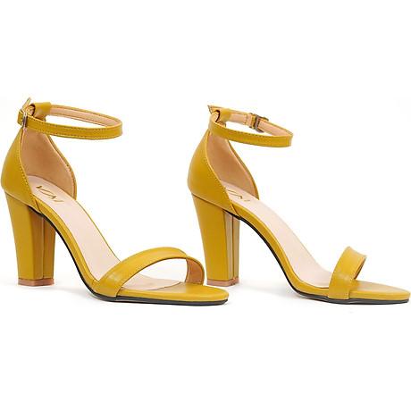 Giày sandal nữ cao gót, chiều cao gót 9CM, da Microfiber nhập khẩu cao cấp êm ái, bền chắc và thời trang, mũi tròn, gót trụ vững trãi bọc da đồng màu sang trọng và chắc chắn, thiết kế đơn giản, tinh tế, thời trang SD.V04.9F 1