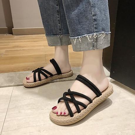 Dép sandal nữ quai chéo đế giả cói vintage siêu mềm êm chân CS1 3