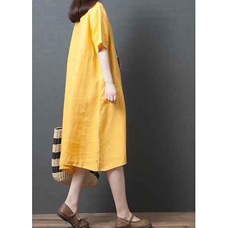 Đầm suông form rộng 2 túi sườn LAHstore, thích hợp mùa hè, thời trang trẻ, phong cách Hàn Quốc (Vàng) 2